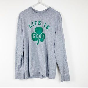 Life is good crusher tee M grey long sleeve clover